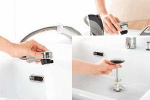 クリナップ「ティアリス」のシャワー付き水栓は水じまいが良く人気です!