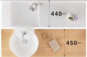 洗面所が狭いお宅でもサイズが対応可能